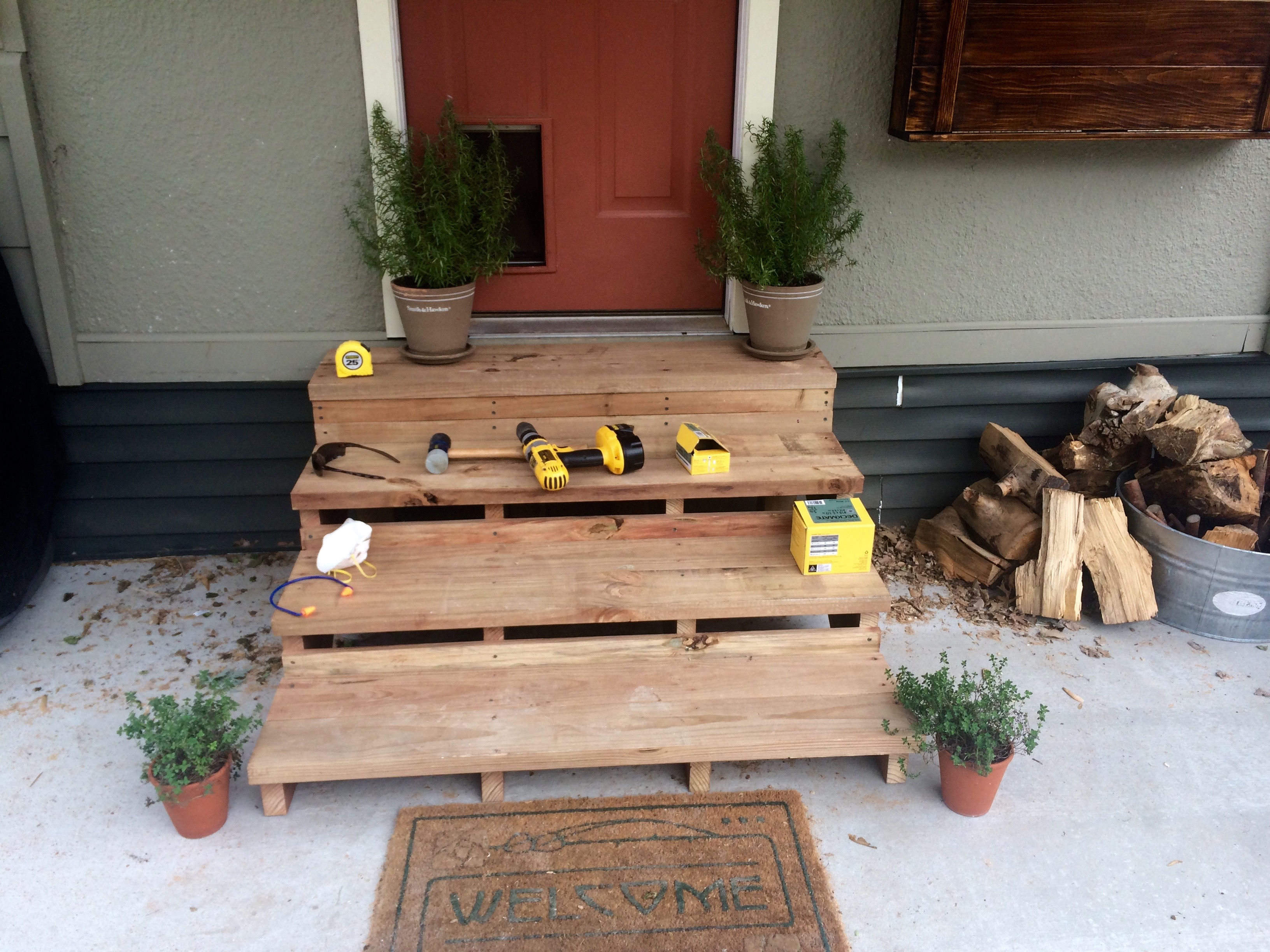 How To Build Wooden Back Door Steps Designs
